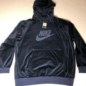 NWT Nike Plush Velour Pullover Hoodie Obsidian